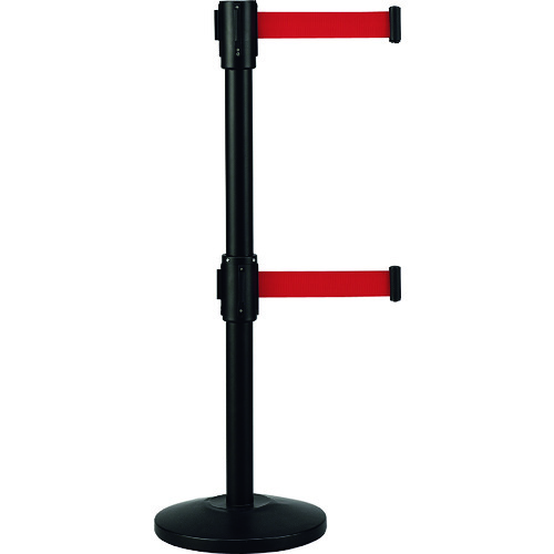 ■緑十字 Wベルトパーテーション 本体:黒 ベルト:赤 高さ970mm スチール製 332153 (株)日本緑十字社[TR-1149029] [個人宅配送不可]