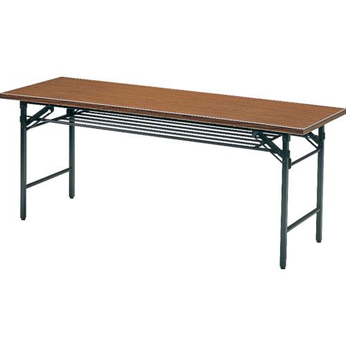 ■TRUSCO 会議用テーブル棚付折り畳み式1500×450×700チ チーク TS-1545 トラスコ中山(株)[TR-1259023] [送料別途お見積り]
