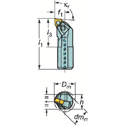 ■サンドビック T-MAX P ネガチップ用ボーリングバイト  〔品番:A25T-MWLNR08〕[TR-2102536]