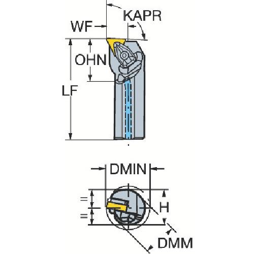 ■サンドビック コロターンRC ネガチップ用ボーリングバイト  〔品番:A25T-DTFNR〕[TR-2513692]