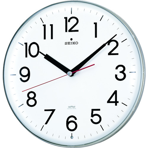 ■SEIKO アクリルカバー電波掛時計 直径294×47 白 KX301H [TR-3276911]