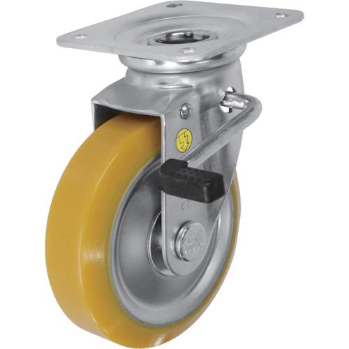 ■シシク 静電気帯電防止キャスター 自在ストッパー付 150径 ウレタン車輪 EUWJB-150 [TR-3535096]