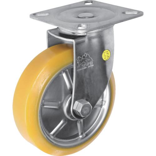 ■シシク ステンレスキャスター 制電性ウレタン車輪付自在 SUNJ-150-SEUW [TR-3535355]