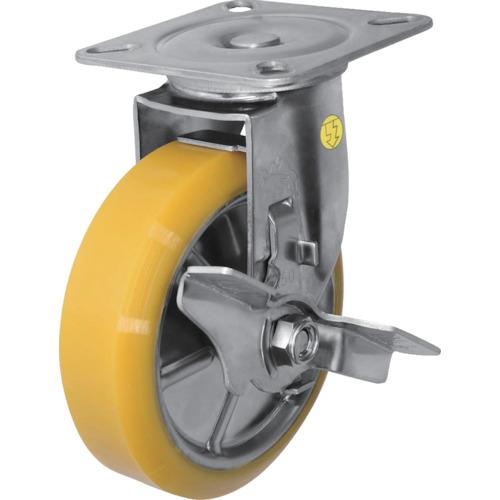 ■シシク ステンレスキャスター 制電性ウレタン車輪自在ストッパー付 SUNJB-150-SEUW [TR-3535410]