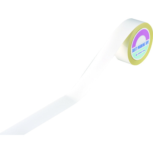 ■緑十字 ラインテープ(ガードテープ) 白 再剥離タイプ 50幅×100m 屋内用 149031 日本緑十字社[TR-3631991]