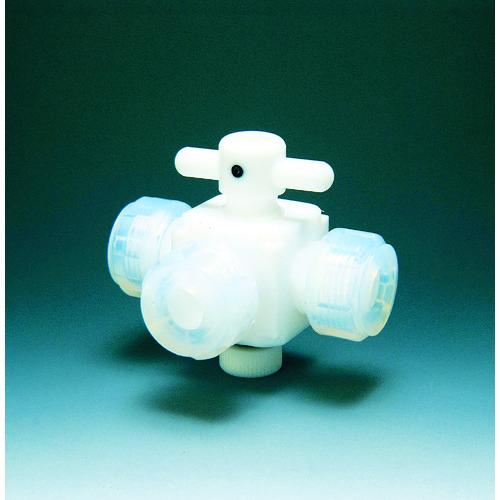 ■フロンケミカル フッ素樹脂(PTFE)三方バルブ接続6mm〔品番:NR0030-001〕[TR-3915417]