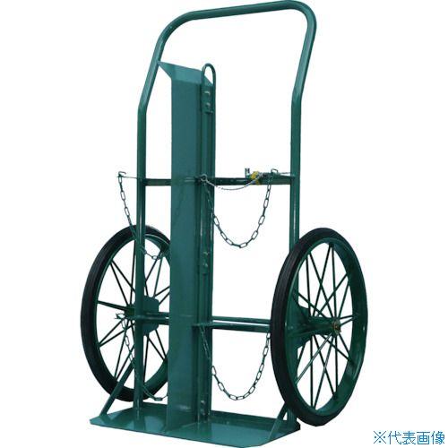 ■KS ボンベ運搬車(大車輪型、仕切板付)酸素7000L、アセチレン7.0kg用〔品番:KU-O-P〕[TR-4527941]【大型・重量物・個人宅配送不可】