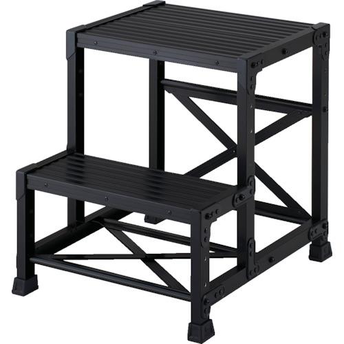 ■TRUSCO 作業用踏台 アルミ製・高強度タイプ 2段 ブラック TSF-256-BK トラスコ中山(株)[TR-4879597] [個人宅配送不可]