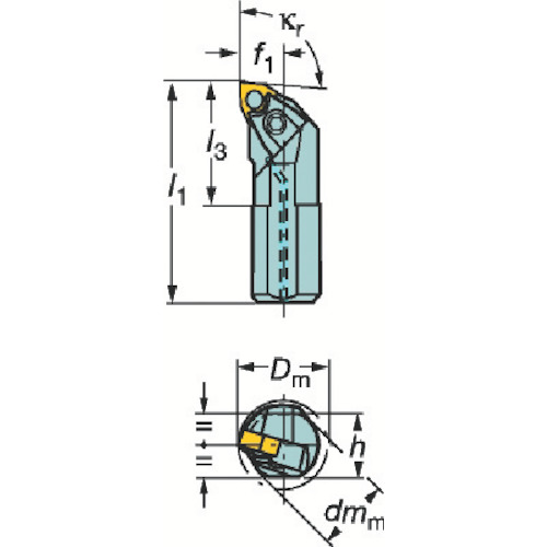 ■サンドビック T-MAX P ネガチップ用ボーリングバイト  〔品番:A50W-MWLNR〕[TR-6014852]