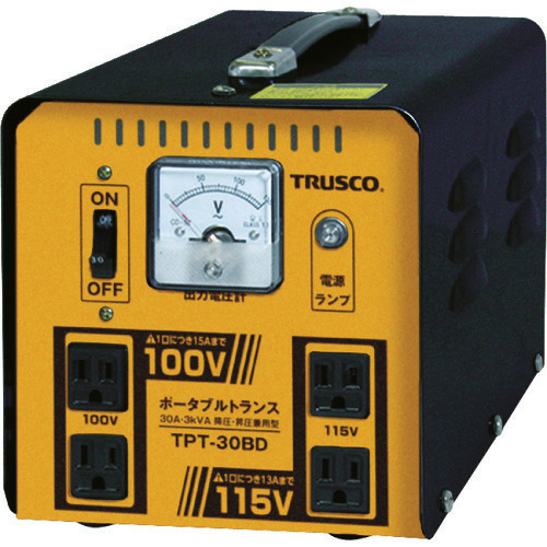 ■TRUSCO ポータブルトランス 30A 3kVA 降圧・昇圧兼用型 TPT-30BD トラスコ中山(株)[TR-7644639]