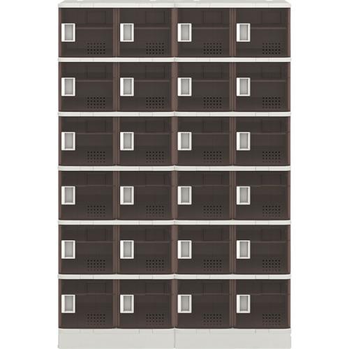 ■アイリスチトセ 樹脂ロッカー24人用 クリアブラウン TJL-S46ST-BR [TR-7732911] [送料別途お見積り]