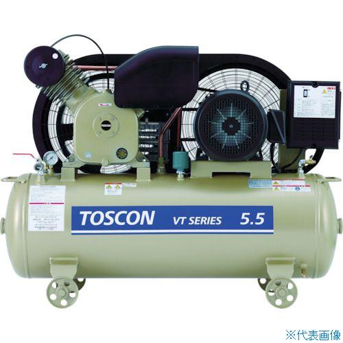 ■東芝 タンクマウントシリーズ 給油式 コンプレッサ(低圧) VT105-15T [TR-7738595] [個人宅配送不可]