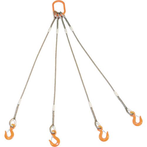 ■TRUSCO 4本吊りWスリング フック付き 6mmX1.5m GRE-4P-6S1.5 トラスコ中山(株)[TR-8191724]