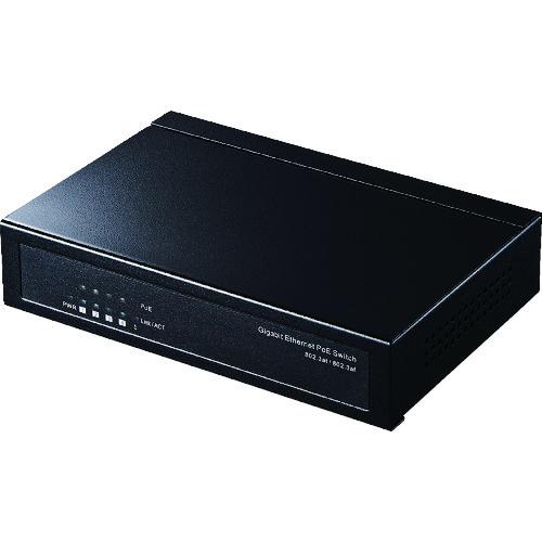 ■SANWA ギガビット対応 薄型PoEハブ(5ポート) LAN-GIGAPOES5 [TR-8353079]