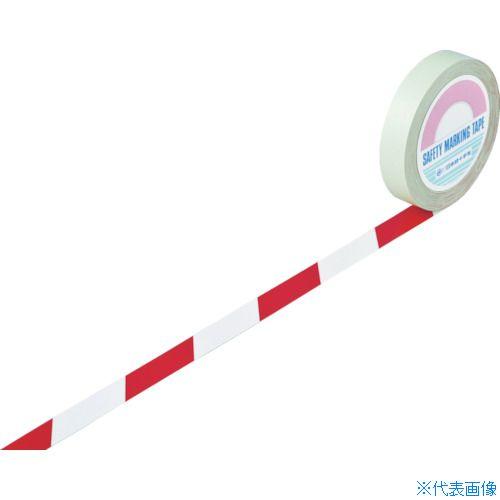 ■緑十字 ガードテープ(ラインテープ) 白/赤(トラ柄) 25mm幅×100m 148023 (株)日本緑十字社[TR-8353725]