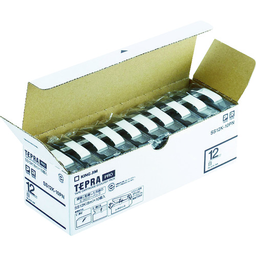 ■キングジム 「テプラ」PROテープエコパック(10個入り)白  〔品番:SS12K-10PN〕[TR-8369198]