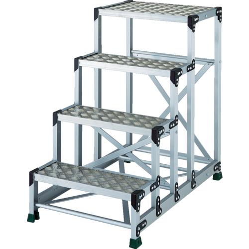■TRUSCO アルミ合金製作業台 縞鋼板 4段 高さ1.00M 600X400  〔品番:TSFC-4610〕[TR-8557684]【大型・重量物・個人宅配送不可】