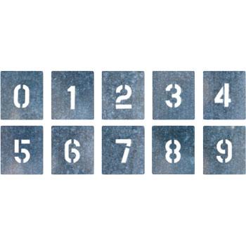 安全標識 J-91C 『0~9』 吹付プレート 数字プレート(0-9の10枚1組) 文字サイズ150×95mm 亜鉛鉄板 [代引不可商品]