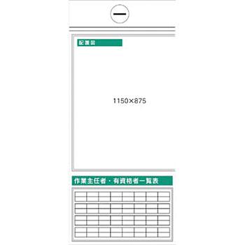 安全標識 KG-364L 『配置図』 安全掲示板 5点タイプ 1800×900mm スチール+ステッカー [送料別途お見積り]