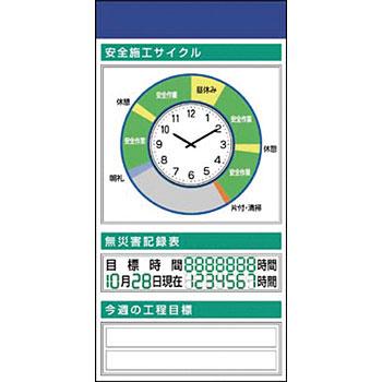 安全標識 KG-570A 『安全施工サイクル(時計)』 安全掲示板 ボックス屋根なし2点タイプ 1800×900mm スチール+ステッカー [送料別途お見積り]