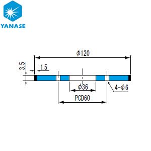 柳瀬(ヤナセ) ダイヤモンドホイール 和井田型 砥材表示:SD140-75M(メタル) D-030 『1個価格』