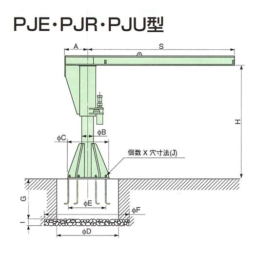 高級感 象印 電動旋回ポスト型ジブクレーン(旋回角度340度) 定速旋回型 PJE-02040 [送料別途お見積り]:セミプロDIY店ファースト-DIY・工具