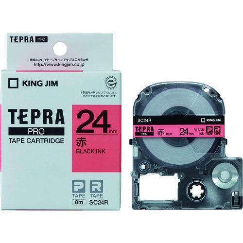 株 キングジム ラベルプリンタ用テープカートリッジ 人気ブレゼント ■キングジム テプラPROテ-プカ-トリッジ 〔品番:SC24R〕 AL完売しました。 赤に黒文字 TR-0051713 カラータイプ