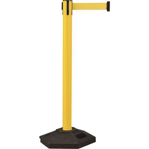 ■緑十字 ベルトパーテーション 黄 高さ1020mm 六角ベースタイプ 6.5kg〔品番:332101〕[TR-1030056]