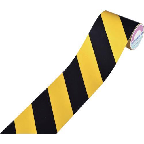 ■緑十字 粗面用反射テープ 黄/黒(トラ) 150MM幅×10M アルミ製  〔品番:319023〕[TR-1076780]