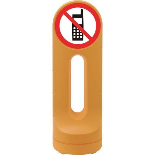■緑十字 サインスタンドRSS 携帯電話使用禁止/イエロー 1250×425 片面表示 PE〔品番:398215〕[TR-1138144]【個人宅配送不可】