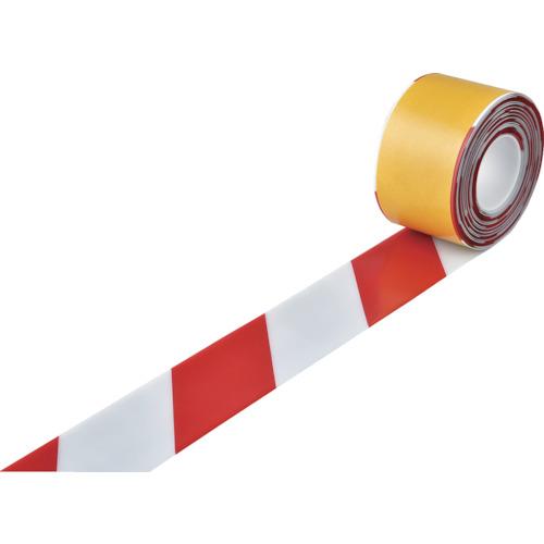 ■緑十字 高耐久ラインテープ 白/赤 100mm幅×10m 両端テーパー構造〔品番:403088〕[TR-1149688]