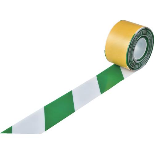■緑十字 高耐久ラインテープ 白/緑 100mm幅×10m 両端テーパー構造〔品番:403089〕[TR-1149689]
