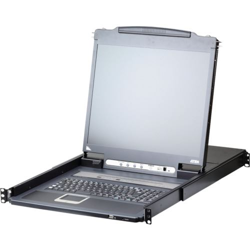 ■ATEN IP-KVMドロワー 16ポート/PS/2/USB/VGA/17インチ LCD/ショートレール(デイジーチェーンポート搭載、USBデバイス対応)  〔品番:CL5716IMJJS〕[TR-1152147]