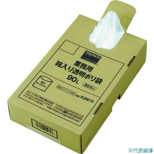 ■TRUSCO まとめ買い 業務用ポリ袋 透明・箱入 0.15×90L  (30枚入)  〔品番:XU0090〕[TR-1153692]