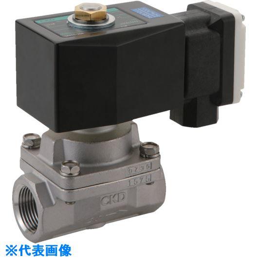 ■CKD 蒸気用パイロットキック式2ポート電磁弁〔品番:SPK11-15A-F4M-AC220V〕[TR-1193568]