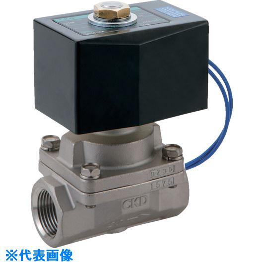 ■CKD 蒸気用パイロットキック式2ポート電磁弁〔品番:SPK11-15A-F4AS-AC220V〕[TR-1193583]