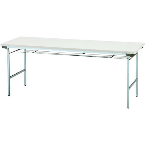 ■TOKIO 折りたたみテーブル 棚付 1800×600mm ネオグレー〔品番:TF-1860〕[TR-1199340 ]【送料別途お見積り】
