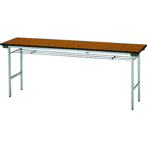 ■TOKIO 折りたたみテーブル 棚付 1800×600mm チーク〔品番:TF-1860〕[TR-1200999 ]【送料別途お見積り】
