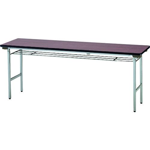 ■TOKIO 折りたたみテーブル 棚付 1800×600mm ローズ〔品番:TF-1860〕[TR-1202579 ]【送料別途お見積り】