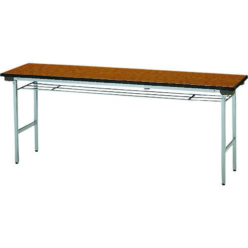 ■TOKIO 折りたたみテーブル 棚付 1500×450mm チーク〔品番:TF-1545〕[TR-1202581 ]【送料別途お見積り】