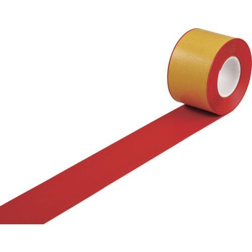 ■緑十字 高耐久ラインテープ 赤 100MM幅×10M 両端テーパー構造 屋内用  〔品番:403084〕[TR-1216474]