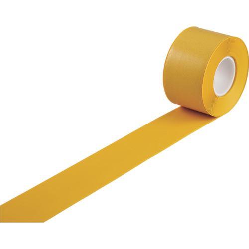 ■緑十字 高耐久ラインテープ 黄 100MM幅×10M 両端テーパー構造 屋内用  〔品番:403083〕[TR-1216552]