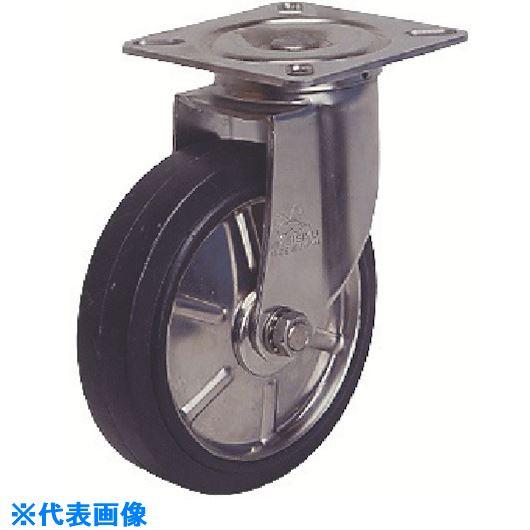 ■シシク ステンレスキャスター 自在 150径 ゴム車輪  〔品番:SUNJ-150-SW〕[TR-1287343]