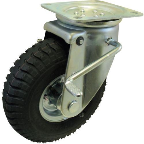 ■ヨドノ 空気入りタイヤ自在車ストッパー付  〔品番:HC-WJB300-4〕[TR-1318807]