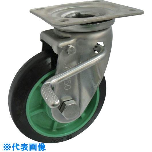 ■ヨドノ 樹脂製ゴム車輪ステンレス製自在車ストッパー付 130  〔品番:PNAJAB130〕[TR-1321899]