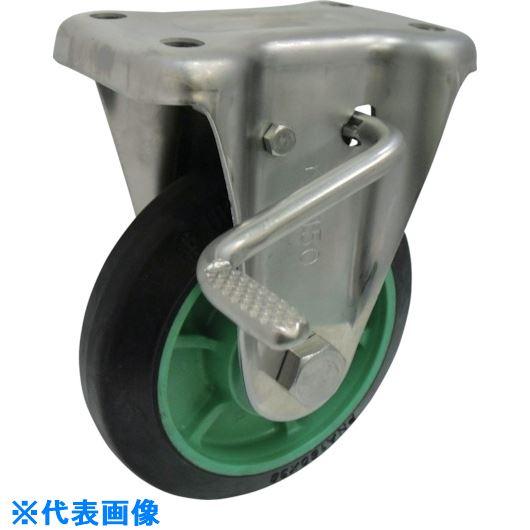 ■ヨドノ 樹脂製ゴム車輪ステンレス製固定車ストッパー付 150  〔品番:PNKABZ150〕[TR-1336051]