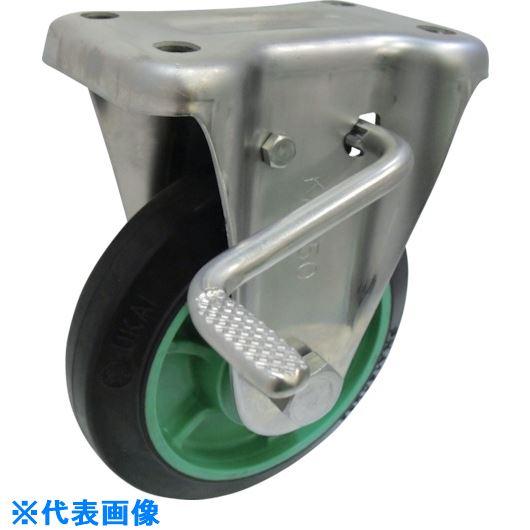 ■ヨドノ 樹脂製ゴム車輪ステンレス製固定車ストッパー付 200〔品番:PNAKABZ200〕[TR-1336106]【大型・重量物・個人宅配送不可】