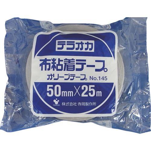 ■TERAOKA カラーオリーブテープ NO.145 黒 100mmX25M《18巻入》〔品番:145〕[TR-1346997×18]