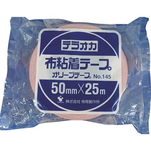■TERAOKA カラーオリーブテープ NO.145 赤 100mmX25M《18巻入》〔品番:145〕[TR-1347007×18]