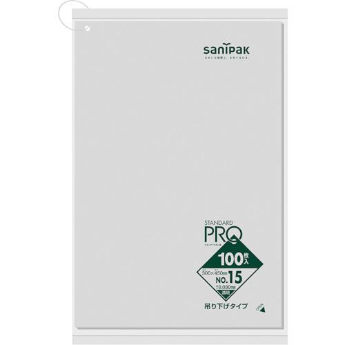 ■サニパック L15H規格袋吊り下げタイプ(0.03)15号 20冊入 〔品番:L15H-CL〕[TR-1350946×20]